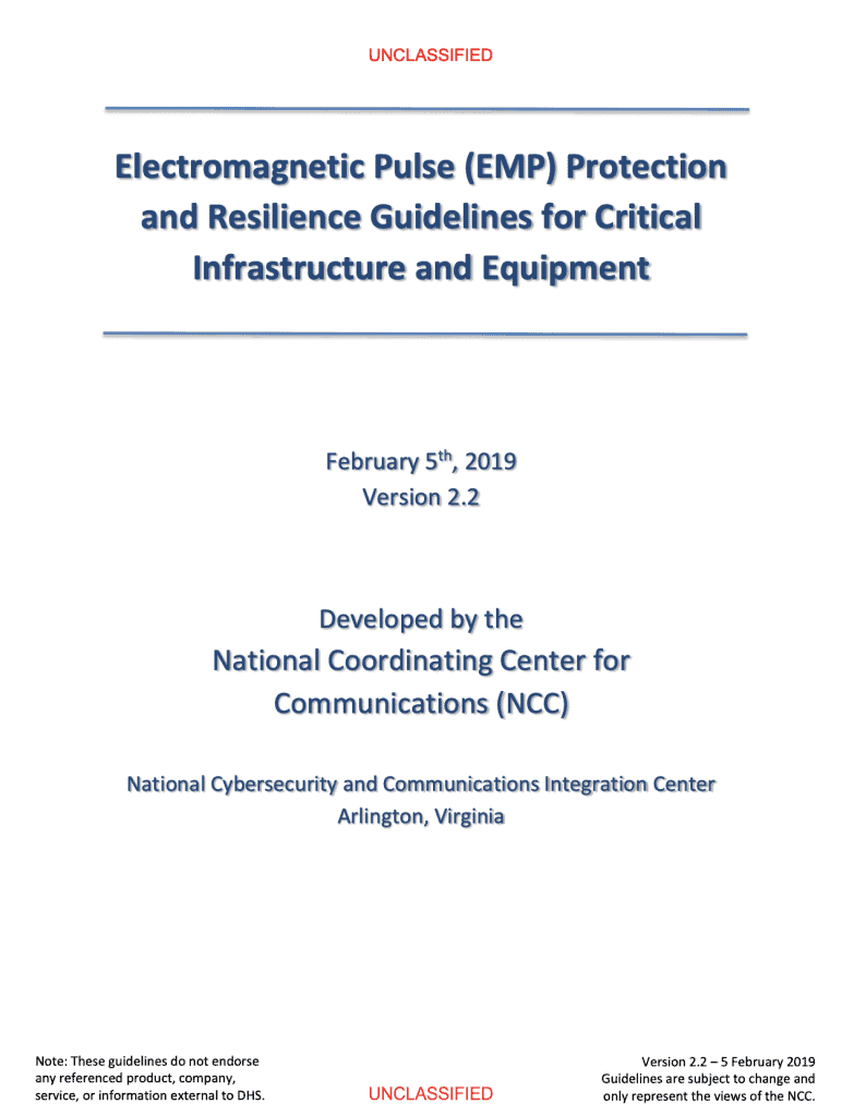 Electromagnetic Pulse (EMP) Protection and Resilience Guidelines for Critical Infrastructure and Equipment emp shield