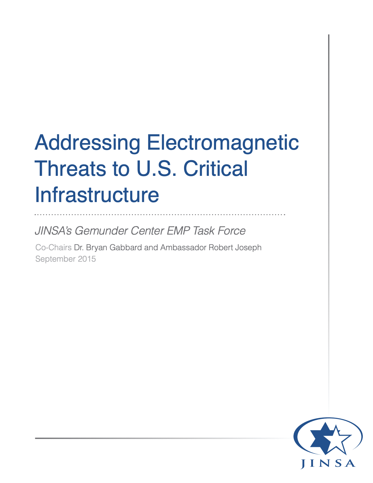 Addressing Electromagnetic Threats to U.S. Critical Infrastructure